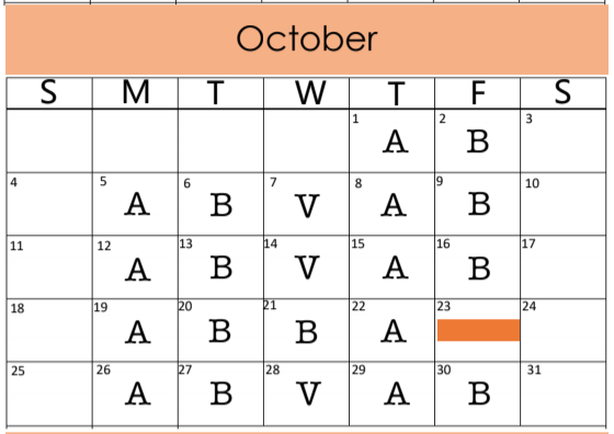 Secondary October A/B Days